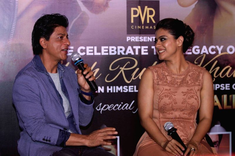 Actors Shah Rukh Khan and Kajol during the Sneak Preview of film Dilwale in Mumbai on Dec 11, 2015. - Shah Rukh Khan and Kajol