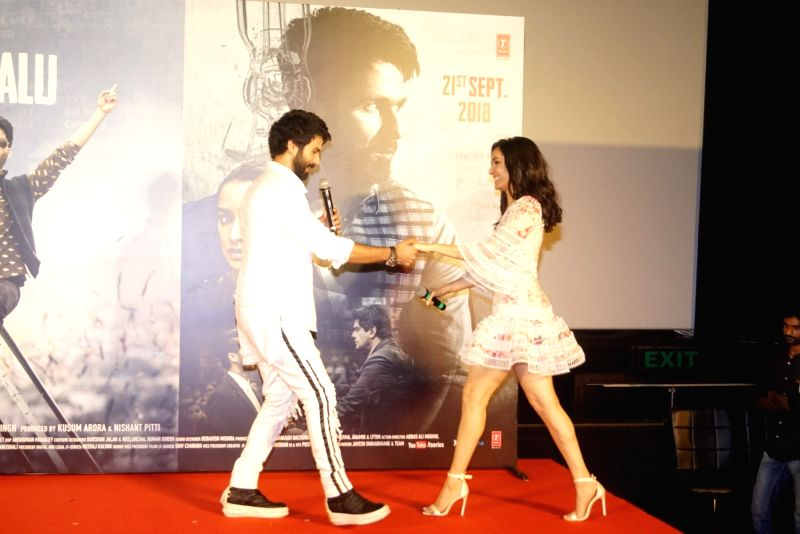 "Actors Shahid Kapoor and Shraddha Kapoor at the trailer launch of their upcoming film ""Batti Gul Meter Chalu"" in Mumbai on Aug 10, 2018. - Shahid Kapoor and Shraddha Kapoor"