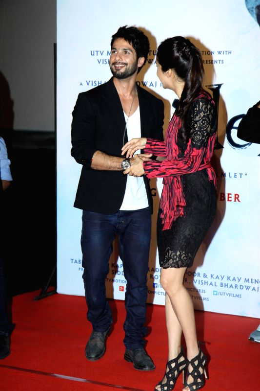 Actors Shahid Kapoor and Shraddha Kapoor during the trailer launch of upcoming film Haider at PVR Cinemas in Mumbai on July 7, 2014. - Shahid Kapoor and Shraddha Kapoor