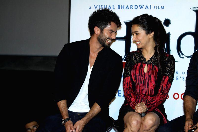 Actors Shahid Kapoor and Shraddha Kapoor during the trailer launch of upcoming film Haider at PVR Cinemas in Mumbai on July 7, 2014. - Shahid Kapoor and Shraddha Kapoor