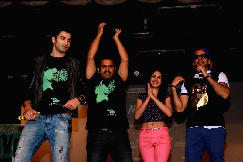 Actors Sharib Hashmi, Siddharth Gupta, Karan Mehra and Gunjan Malhotra during the promotion of film Badmashiyaan in Mumbai, on Feb 21, 2015. - Sharib Hashmi, Siddharth Gupta, Karan Mehra and Gunjan Malhotra