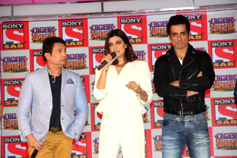 Actors Shekhar Suman, Sushmita Sen and Sonu Sood during the launch of reality show Comedy Superstar on SAB TV in Mumbai, on Aug 10, 2015. - Shekhar Suman, Sushmita Sen and Sonu Sood