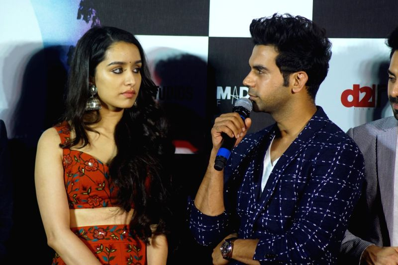 """Actors Shraddha Kapoor and Rajkummar Rao at the trailer launch of their upcoming film """"Stree"""" in Mumbai on July 26, 2018. - Shraddha Kapoor and Rajkummar Rao"""