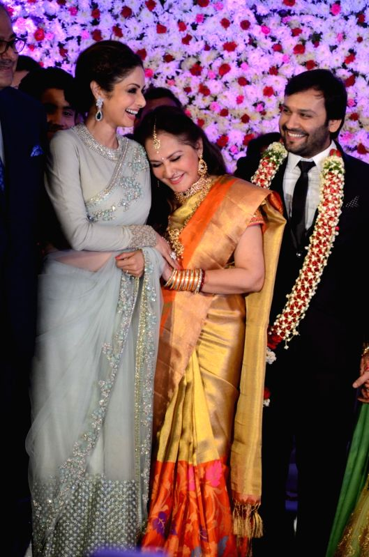 Actors Sridevi and Jayaprada during the wedding reception of actress Jayaprada`s son Siddharth with Pravallika Reddy in Hyderabad. - Sridevi and Pravallika Reddy