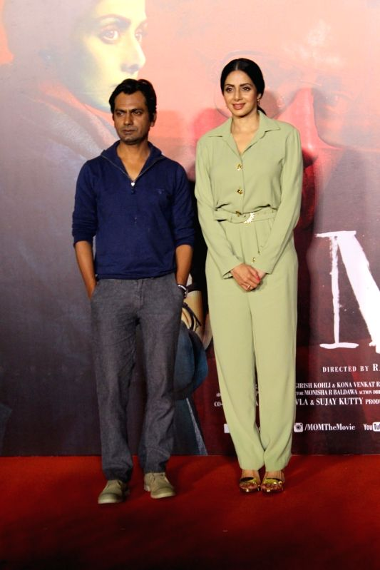 "Actors Sridevi and Nawazuddin Siddiqui during the trailer launch of their upcoming film ""Mom"" in Mumbai, on June 3, 2017. - Sridevi and Nawazuddin Siddiqui"