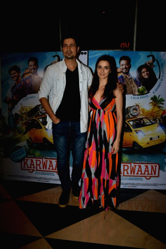 "Actors Sumeet Vyas and Ekta Kaul at the special screening of upcoming film ""Karwaan"", in Mumbai on Aug 2, 2018. (Photo: IANS - Sumeet Vyas and Ekta Kaul"