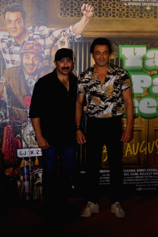 "Actors Sunny Deol and Bobby Deol at the trailer launch of their upcoming film ""Yamla Pagla Deewana Phir Se"" in Mumbai on Aug 10, 2018. - Sunny Deol and Bobby Deol"