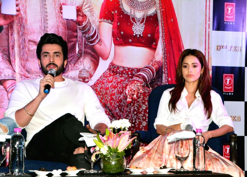 "Actors Sunny Singh and Nushrat Bharucha during a press conference organised to promote ""Sonu Ke Titu Ki Sweety"" in Kolkata, on Jan 20, 2018. - Sunny Singh and Nushrat Bharucha"