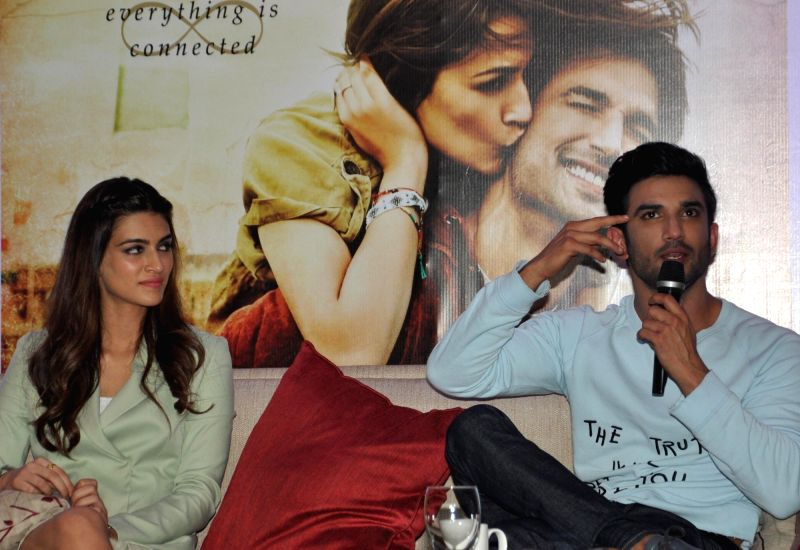 "Actors Sushant Singh Rajput and Kriti Sanon during a press conference to promote their upcoming film ""Raabta"" in Kolkata on June 5, 2017. - Sushant Singh Rajput and Kriti Sanon"