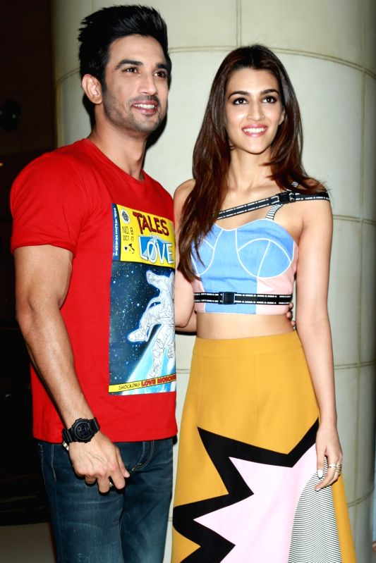 "Actors Sushant Singh Rajput and Kriti Sanon during the promotion of their upcoming film ""Raabta"" in New Delhi on June 6, 2017. - Sushant Singh Rajput and Kriti Sanon"