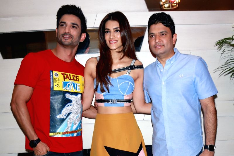 "Actors Sushant Singh Rajput, Kriti Sanon and producer Bhushan Kumar during the promotion of their upcoming film ""Raabta"" in New Delhi on June 6, 2017. - Sushant Singh Rajput, Kriti Sanon and Bhushan Kumar"