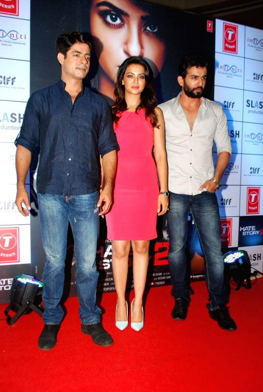 Actors Sushant Singh, Surveen Chawla and Jay Bhanusal during the promotion of film Hate Story 2 in Mumbai on July 12, 2014. - Sushant Singh, Surveen Chawla and Jay Bhanusal