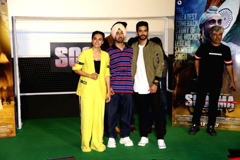 "Actors Taapsee Pannu, Diljit Dosanjh and Angad Bedi at the trailer launch of their upcoming film ""Soorma"" in Mumbai on June 11, 2018. - Taapsee Pannu, Diljit Dosanjh and Angad Bedi"