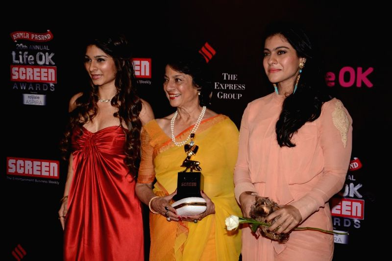Actors Tanisha, Tanuja & Kajol during the 20th Annual Life OK Screen Awards in Mumbai, on January ...