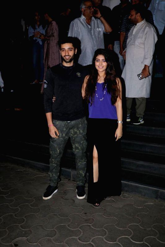 "Actors Utkarsh Sharma and Ishita Chauhan at the special screening of film ""Mulk"" in Mumbai on Aug 2, 2018. - Utkarsh Sharma and Ishita Chauhan"