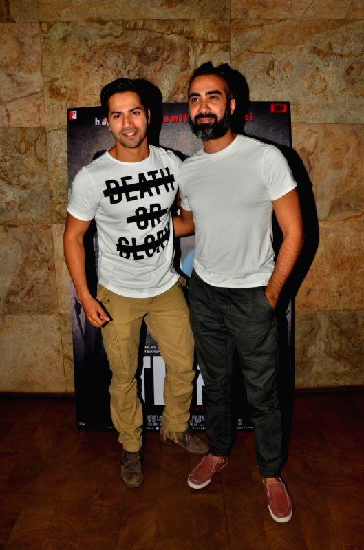 Actors Varun Dhawan and Ranvir Shorey during the screening of film Titly in Mumbai on Oct 29, 2015. - Varun Dhawan and Ranvir Shorey