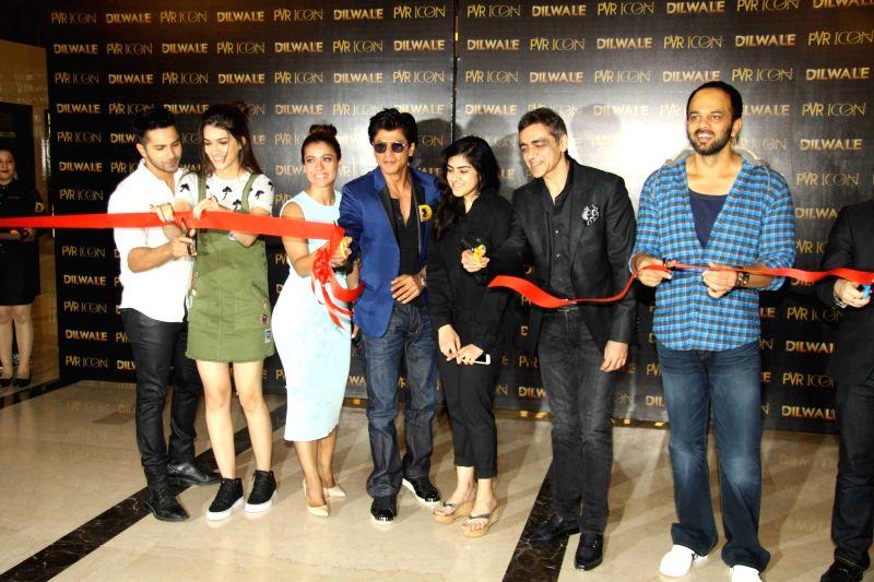 Actors Varun Dhawan, Kriti Sanon, Kajol and Shah Rukh Khan during the song launch of upcoming film Dilwale in Mumbai on Nov 26, 2015. - Varun Dhawan, Kriti Sanon, Kajol and Shah Rukh Khan