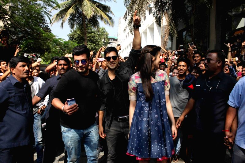 Actors Varun Sharma, Varun Dhawan and Kriti Sanon during the promotion of film Dilwale in Mumbai on Dec 7, 2015. - Varun Sharma, Varun Dhawan and Kriti Sanon
