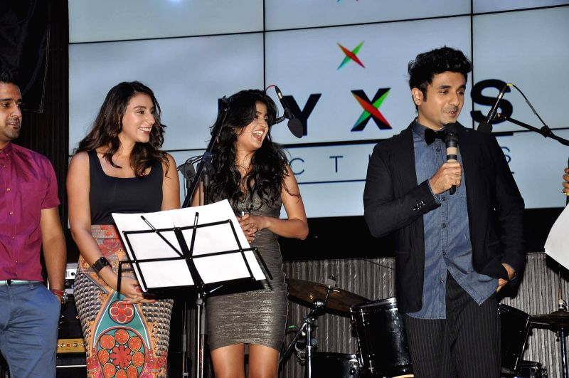 Actors Vega Tamotia Vir Das and Anindita Nayar during the music launch of film Amit Sahni Ki List in Mumbai on June 18, 2014. - Vega Tamotia Vir Das and Anindita Nayar