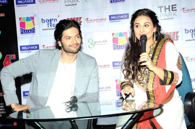 Actors Vidya Balan and Ali Fazal during a press meet of their upcoming film Bobby Jasoos in Mumbai on June 20, 2014. - Vidya Balan and Ali Fazal