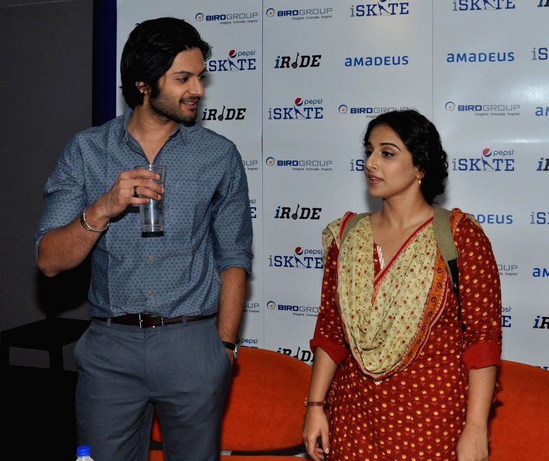 Actors Vidya Balan and Ali Fazal during a press conference to promote their upcoming film `Bobby Jasoos` in Gurgaon on July 2, 2014. - Vidya Balan and Ali Fazal