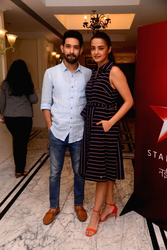 "Actors Vikrant Massey and Surveen Chawla at the launch of television show ""Teen Paheliyan"" in Mumbai on April 13, 2018 . - Vikrant Massey and Surveen Chawla"