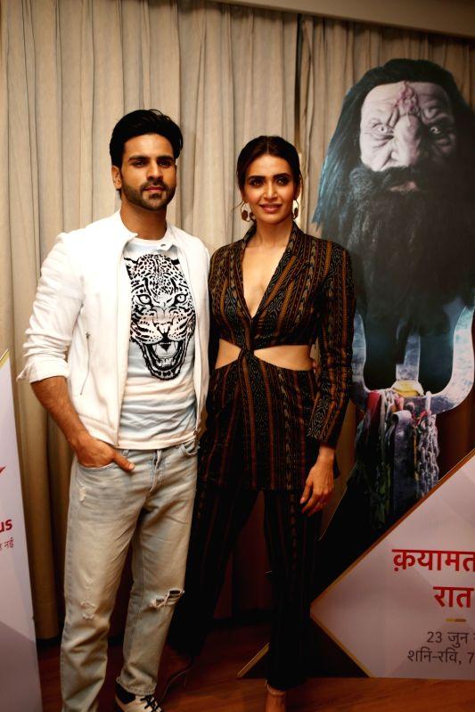 "Actors Vivek Dahiya and Karisma Tanna during a media interaction to promote their upcoming show ""Qayamat Ki Raat"" in Mumbai on June 8, 2018. - Vivek Dahiya and Karisma Tanna"