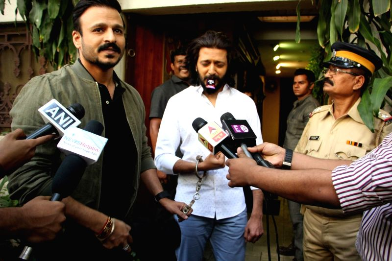 Actors Vivek Oberoi and Riteish Deshmukh during the promotion of film Bank Chor in Mumbai on April 7, 2017. - Vivek Oberoi and Riteish Deshmukh