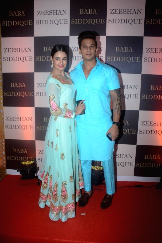 Actors Yuvika Chaudhary and Prince Narula at politician Baba Siddique's iftar party in Mumbai on June 10, 2018. - Yuvika Chaudhary and Prince Narula
