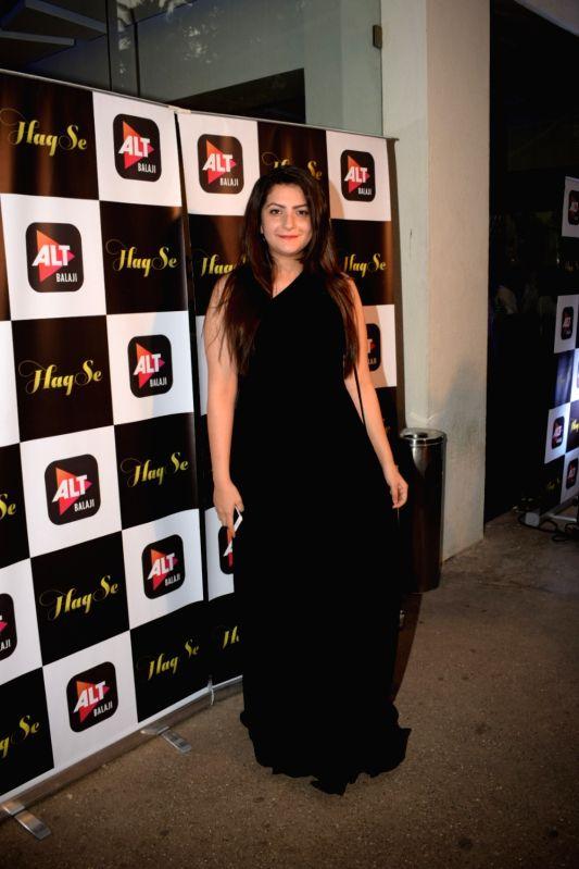 "Actress Aanchal Sharma at the special screening of web series ""Haq Se"" in Mumbai on Jan 30, 2018. - Aanchal Sharma"