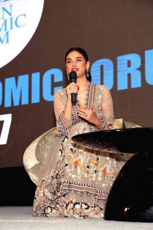 Actress Aditi Rao Hydari addressed a gathering of delegates of Women Economic Forum - 2017 in New Delhi on May 8, 2017. - Aditi Rao Hydari