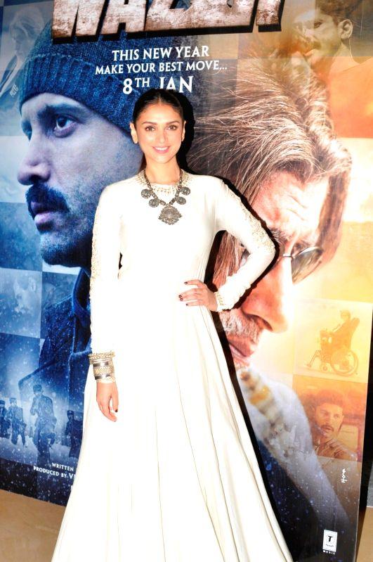Actress Aditi Rao Hydari during the trailer launch of film Wazir in Mumbai on Nov 18, 2015. - Aditi Rao Hydari