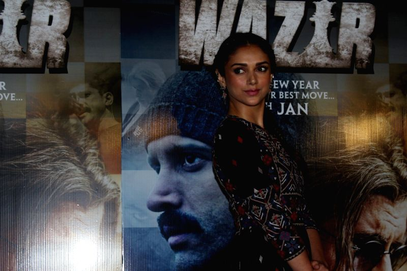 Actress Aditi Roy arrives to watch the first song Tere Bin from film Wazir in Mumbai on Dec 4, 2015. - Aditi Roy