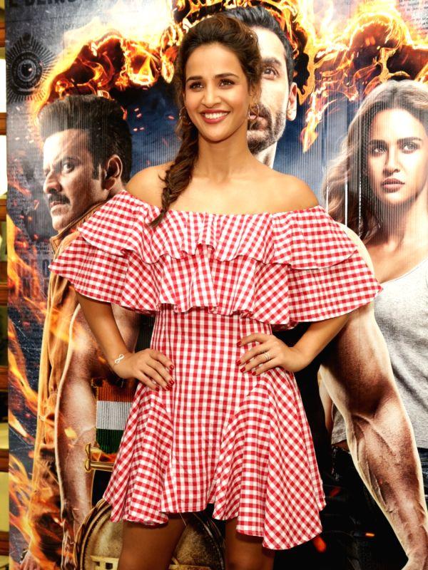 "Actress Aisha Sharma during the promotion of her upcoming film ""Satyameva Jayate"" in New Delhi on Aug 9, 2018. - Aisha Sharma"