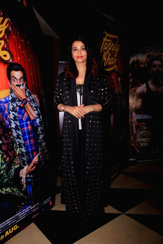 "Actress Aishwarya Rai Bachchan at the special screening of her upcoming film ""Fanney Khan"" in Mumbai on July 31, 2018. - Aishwarya Rai Bachchan and Fanney Khan"