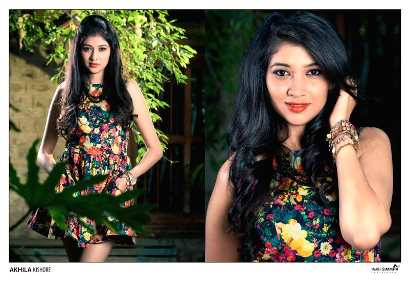 Actress Akhila Kishore poses for a photo during a photoshoot.