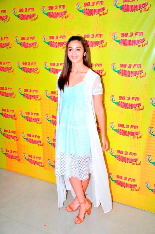 Actress Alia Bhatt during the promotion of film Udta Punjab at Radio Mirchi studio in Mumbai, on June 3, 2016. - Alia Bhatt