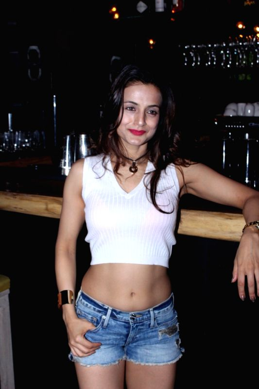 Actress Ameesha Patel during the birthday party of her business partner Kunal Goomer's wife Sheetal Goomer in Mumbai in Mumbai on Aug 10, 2016. - Ameesha Patel