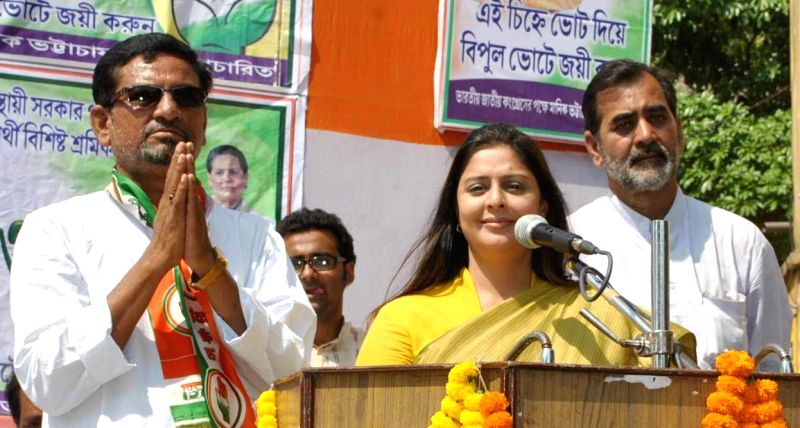 Actress and Congress candidate from Meerut, Nagma during a campaign for congress candidate of Bankura Parliamentary Constituency Nilmadhab Gupta at Bankura in West Bengal on May 3, 2014.