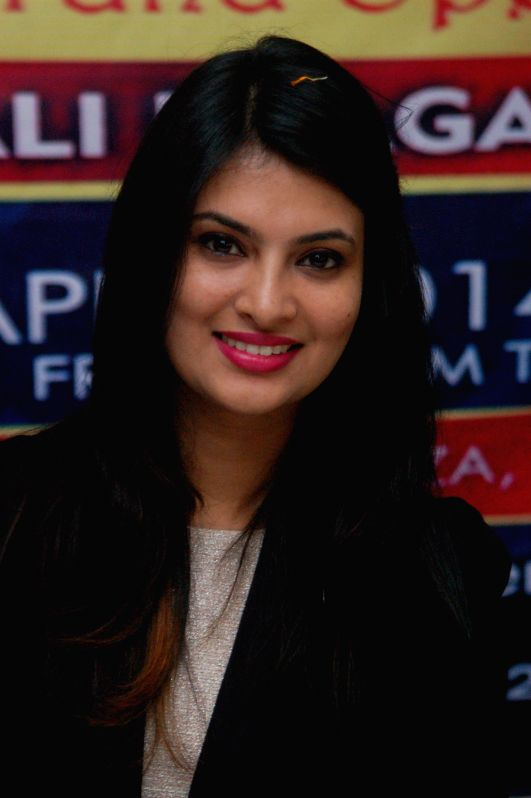 Actress and former beauty queen Sayali Bhagat during inauguration of a beauty parlour in Varanasi on April 27, 2014.