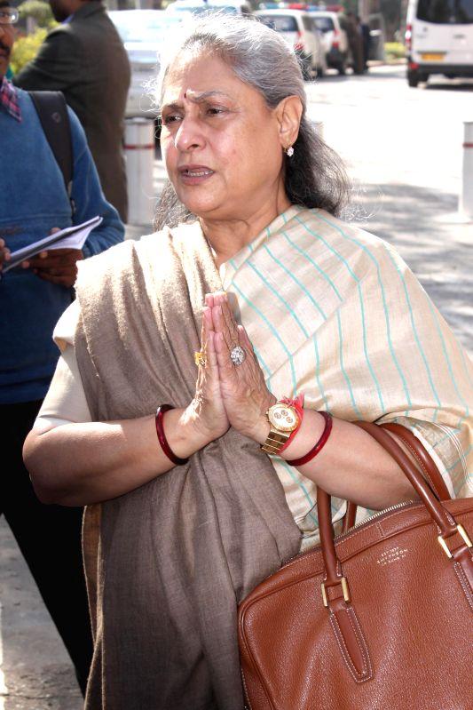 Actress and MP Jaya Bachchan at the Parliament premises in New Delhi, on Dec 1, 2014. - Jaya Bachchan