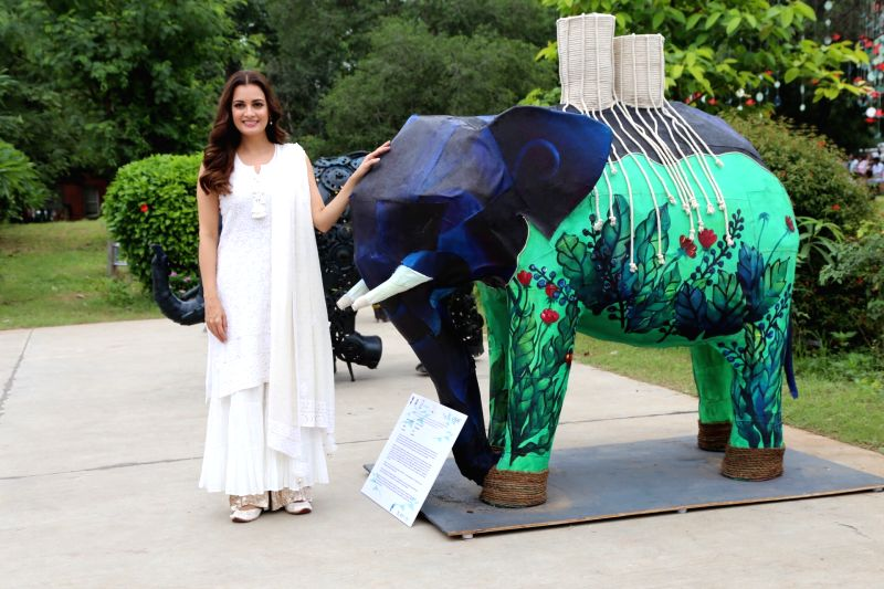 Actress and Wildlife Trust of India (WTI) Brand Ambassador Dia Mirza at the inaugural programme of 'Gaj Mahotasav' organised on the occasion of World Elephant Day', in New Delhi on Aug 12, ... - Dia Mirza