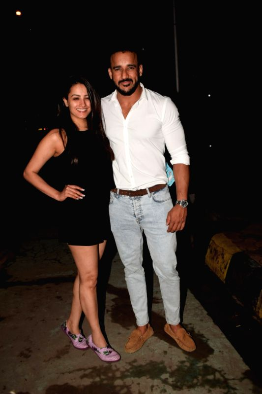 Actress Anita Hassanandani along with her husband Rohit Reddy at Ekta Kapoor's birthday celebration in Mumbai on June 7, 2018. - Anita Hassanandani, Rohit Reddy and Ekta Kapoor