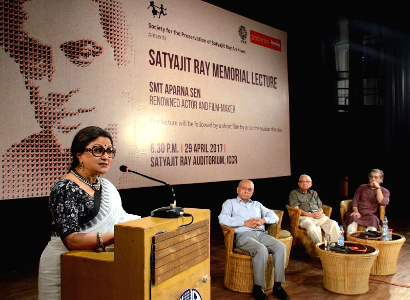 Actress Aparna Sen addressed during Satyajit Ray Memorial Lecture in Kolkata on April 29, 2017. - Aparna Sen