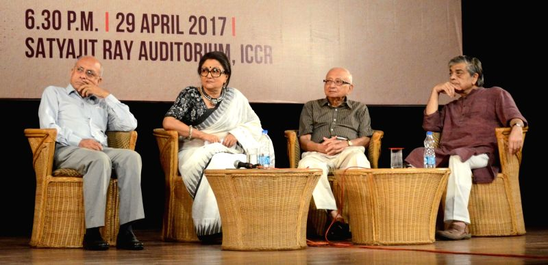 Actress Aparna Sen, filmmaker Sandip Ray and others during Satyajit Ray Memorial Lecture in Kolkata on April 29, 2017. - Aparna Sen