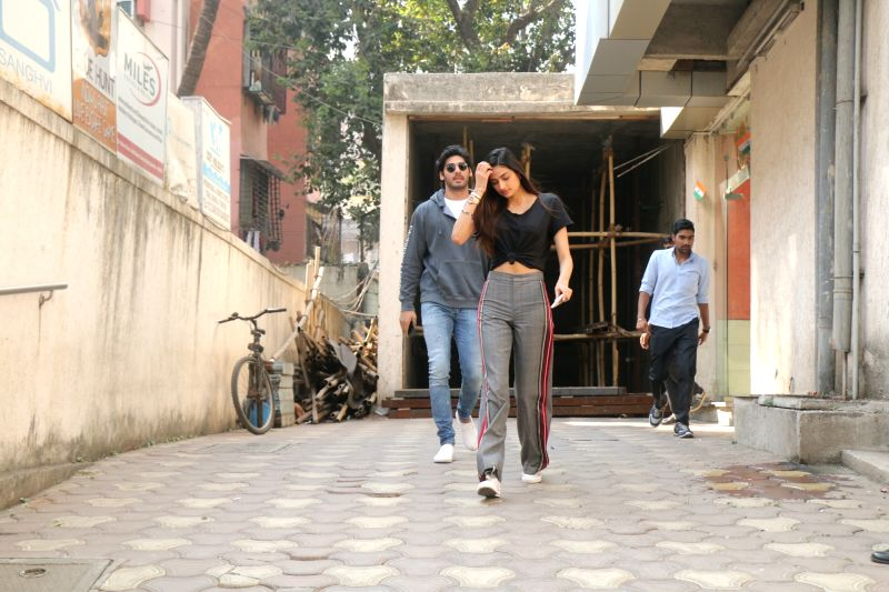 Actress Athiya Shetty with along with her brother Aahan Shetty seen at bandra in Mumbai on Jan 30, 2018. - Athiya Shetty and Aahan Shetty