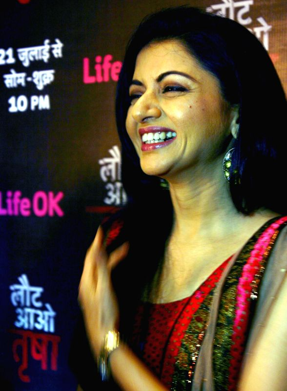 Actress Bhagyashree during a press conference to promote her television soap `Laut Aao Trisha` in Bhopal on Aug 5, 2014. - Bhagyashree