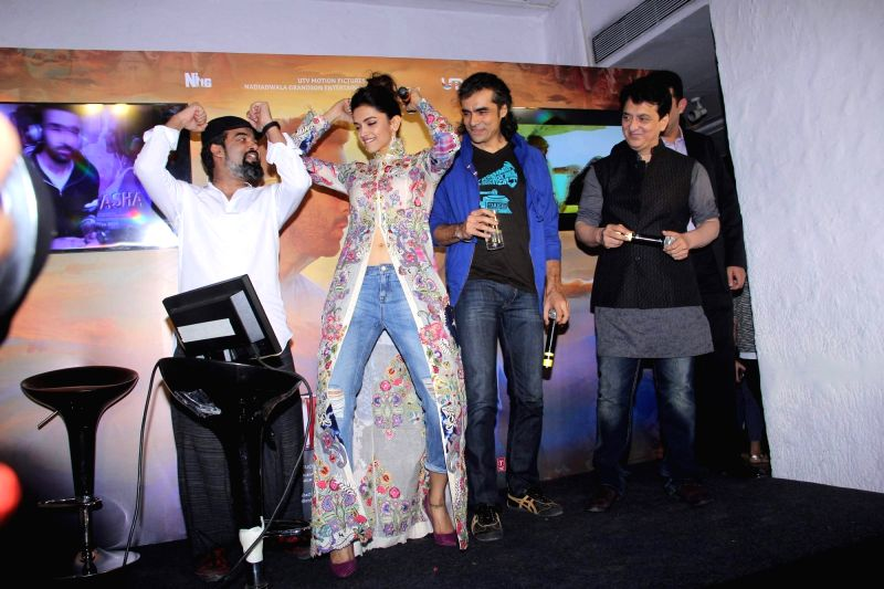 Actress Deepika Padukone and filmmakers Imtiaz Ali and Sajid Nadiadwala during the celebration of music of film Tamasha, in Mumbai on Oct. 31, 2015. - Deepika Padukone