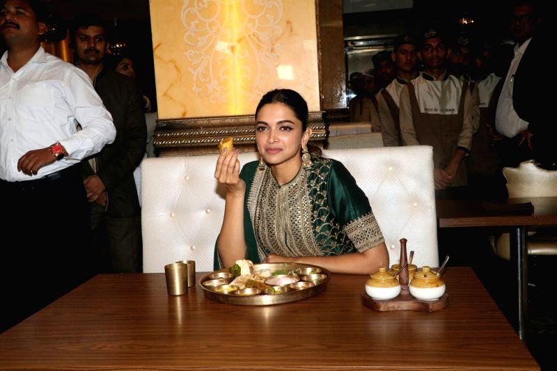 "Actress Deepika Padukone arrives  at Maharaja Bhog to celebrate the success of her recently released film ""Padmaavat"",  in Mumbai on Jan 27, 2018.  The Sanjay Leela Bhansali ... - Deepika Padukone"