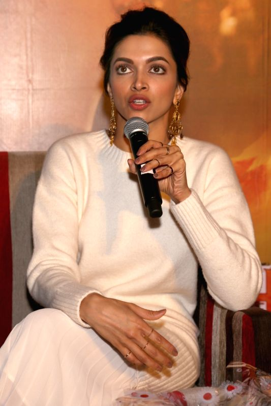 "Actress Deepika Padukone during a press conference to promote her upcoming film ""Tamasha"" in New Delhi, on Nov 23, 2015. - Deepika Padukone"